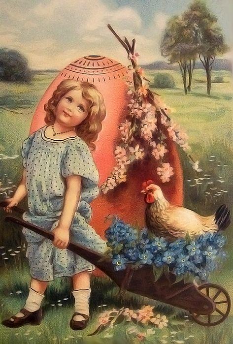 Пасха , светлый праздник пасхи , ретро открытка , с праздником пасхи. Пасха , светлый праздник пасхи , картинка , открытка ретро стиль , винтаж , на открытке изображена девочка , открытка к празднику пасхи , дореволюционная открытка.