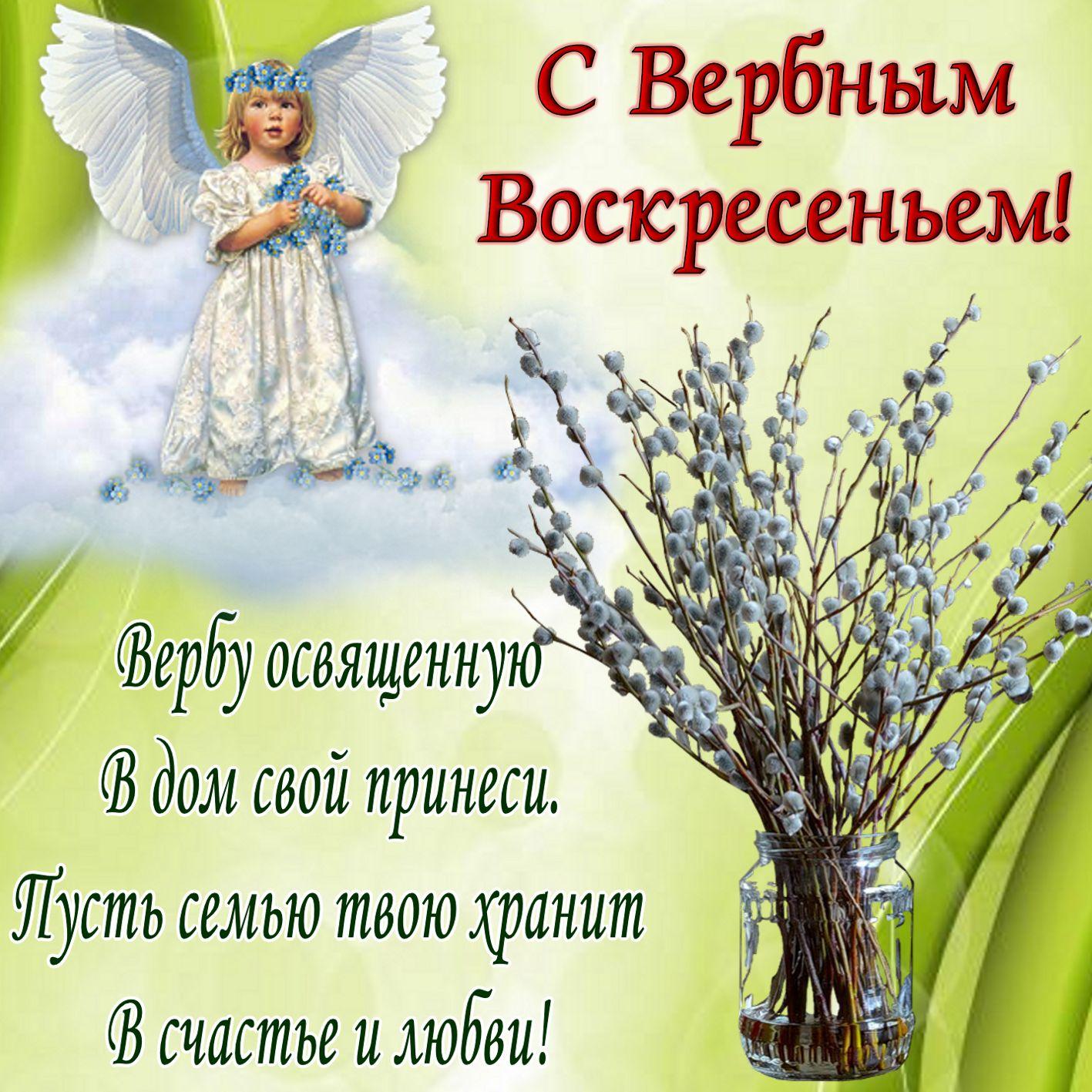 Вербное воскресенье православный праздник , открытка , ангел Вербное воскресенье православный праздник , картинка , открытка с изображение на открытке  ангелочка , весенняя верба , яркая открытка с вербным воскресеньем .