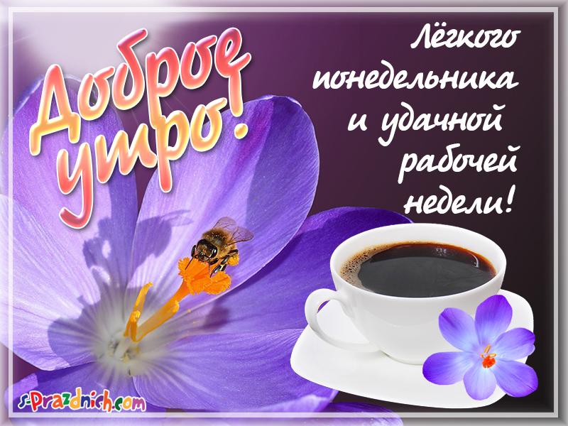 Открытка с добрым утром и хорошего понедельника